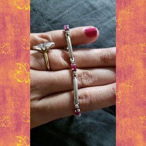 Jewelry - Sterling silver ruby & cz gemstone tennis bracelet